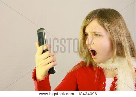 Girl Looking At Cell Phone
