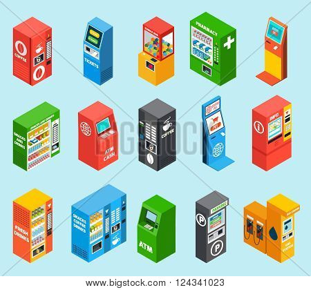Vending dispensing machines selling gasoline alcohol tickets drinks and snacks colorful isometric icons collection isolated vector illustration