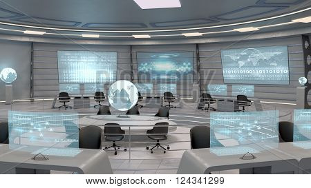 Futuristic interior view of office with holographic screen, technology concept