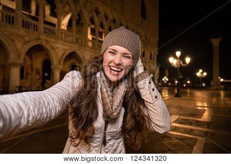Happy Woman Tourist Taking Selfie On St. Mark's Square, Venice
