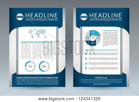 Brochure flyer design layout template. A4 size. Front and back page. Vector booklet, pamphlet, placard, handbill, leaflet design with business icons and infographic elements. Abstract background