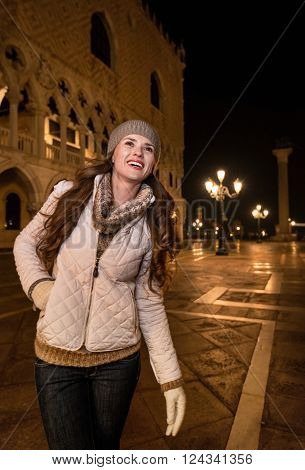Happy Young Woman Tourist Sightseeing St. Mark's Square