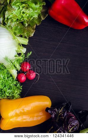Different raw vegetables with empty place for text. Healthy eating. Colorful vegetables background. Healthy food background. Copy space. Top view.