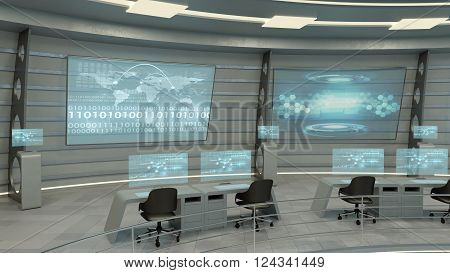 Futuristic interior view of office with holographic screen and world map, technology concept