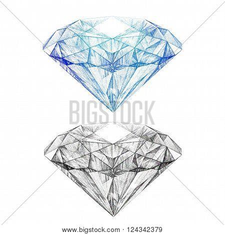 Hand painted brilliant, black and white graphics diamond