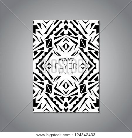 Vector geometric black and white brochure template for business and invitation. Ethnic, tribal, aztec style. Modern ethno ikat pattern