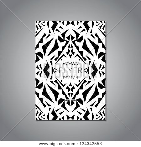 Vector geometric black and white brochure template for business and invitation. Ethnic tribal aztec style. Modern ethno ikat pattern