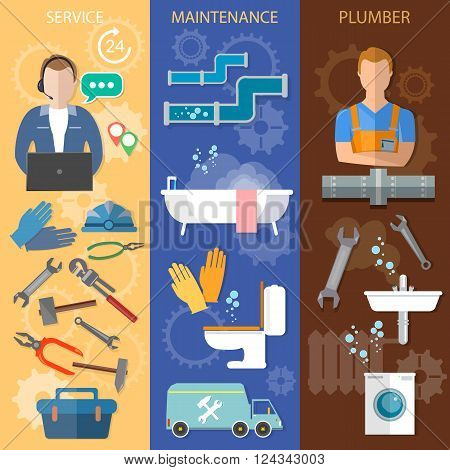 Professional plumber banners call plumber plumbing and renovation vector illustration