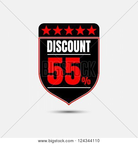 Sale discount labels. Special offer price signs. 55 percent off reduction symbol.
