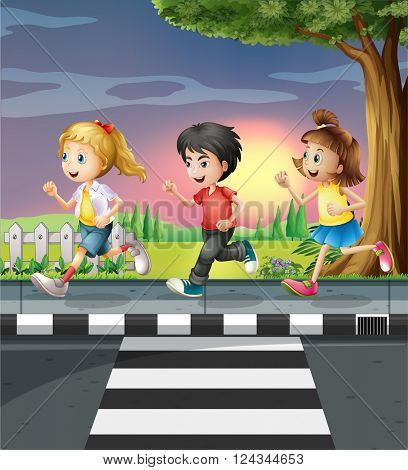 Three kids running along the road illustration