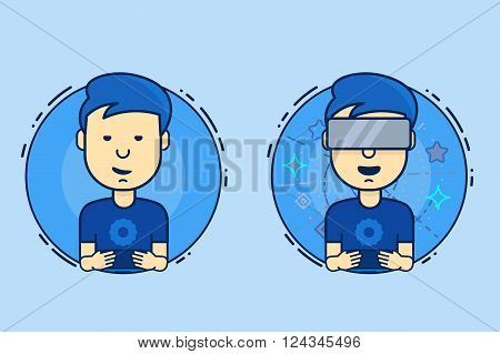 A Man With Isometric Virtual Reality Headset. Boy Playing On The Smartphone And Virtual Reality. Vec