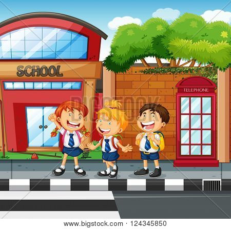 Three students waiting to cross the road illustration