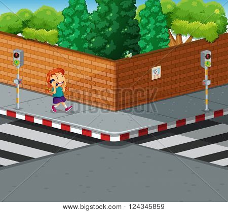 Girl on the pavement talking on the phone illustration