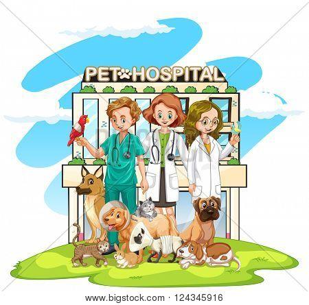 Three vets and many pets at the hospital illustration