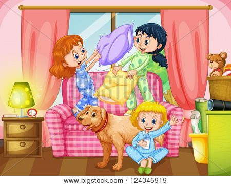 Girls playing pillow fight in living room illustration