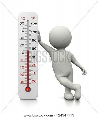 3D Character Leaned On A Thermometer