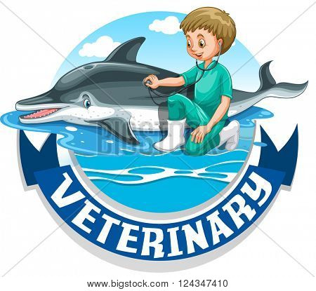 Veterinary sign with vet and dolphin illustration