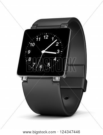 Black Smartwatch with Analog Clock on Display on White Background 3D Illustration