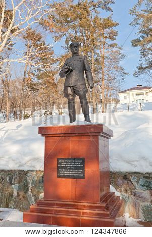 YUZHNO-SAKHALINSK RUSSIA - MARCH 17 2016: Monument (circa 2015) to Aleksandr Vasilevsky in Yuzhno-Sakhalinsk Russia. Vasilevsky (1895-1977) was Marshal of the Soviet Union during WWII