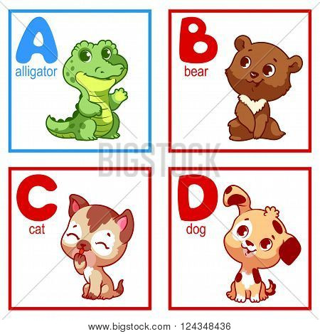 An alphabet with cute animals letters A to D. Funny cartoon animals. Cartoon vector alphabet isolated on a white background.