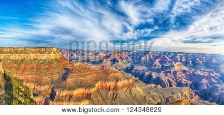 Beautiful colors and shapes of the Grand Canyon shortly after the sunrise at Yavapai Point. Arizona, USA. Panoramic photo