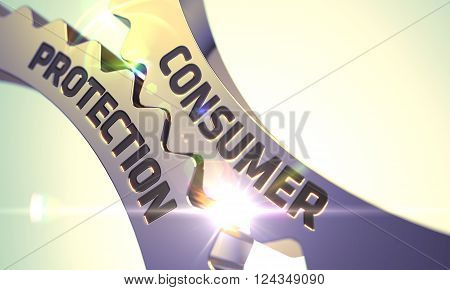 Golden Metallic Gears with Consumer Protection Concept. Consumer Protection on Mechanism of Golden Metallic Cogwheels. Consumer Protection - Technical Design. 3D illustration.