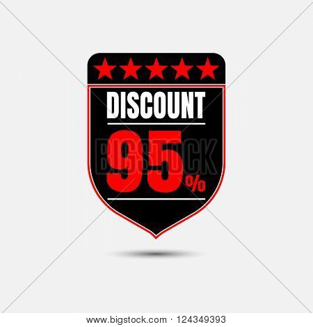 Sale discount labels. Special offer price signs. 95 percent off reduction symbol.