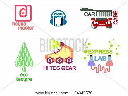 Vector illustration of a six logo set