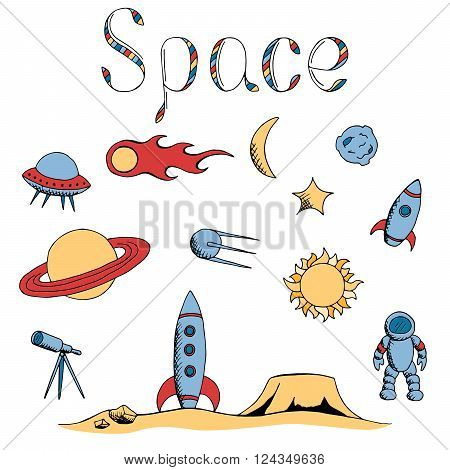 Space graphic set art color isolated illustration vector
