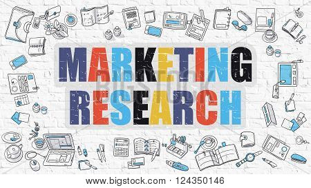 Marketing Research - Multicolor Concept with Doodle Icons Around on White Brick Wall Background. Modern Illustration with Elements of Doodle Design Style.