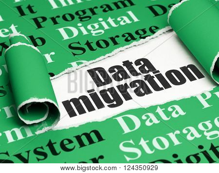 Information concept: black text Data Migration under the piece of  torn paper