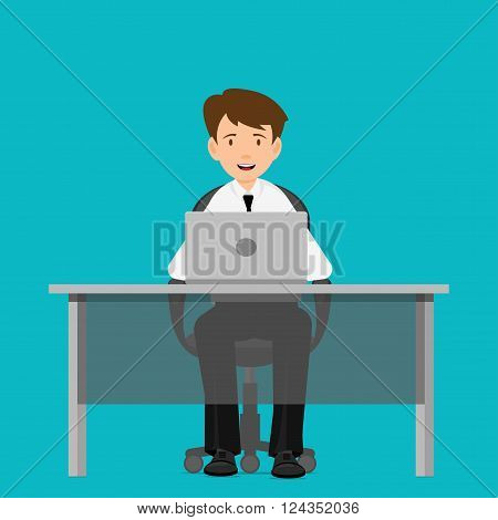 Businessman, manager, consultant at work. A man in a chair at a table with a computer. Flat Design  Vector illustration.