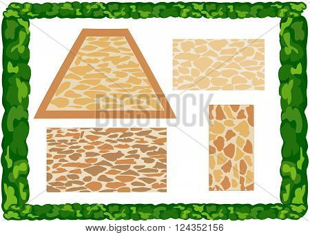Different  types of paving slabs. Frame of greenery.  Vector. Horizontal.