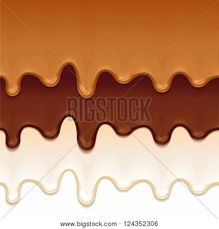 Melted chocolate, caramel and yogurt drips - seamless horizontal borders set. Vector illustration.