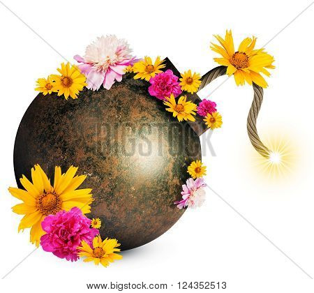 Money style bomb with ignited fuse and flowers isolated on white background. 3D illustration