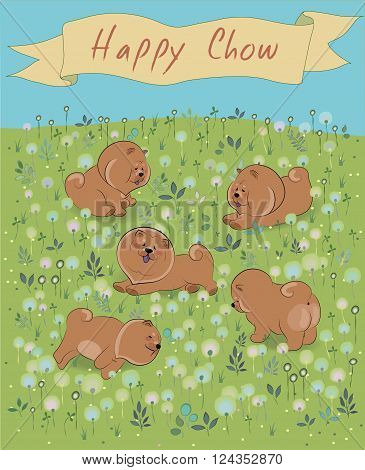 Happy Chow-chow on the blossoming field. Vector Illustration