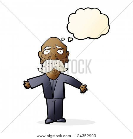 cartoon disappointed old man with thought bubble