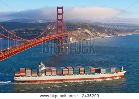 Container Ship Under Golden Gate Bridge