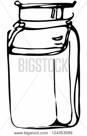black and white vector sketch tableware small metal cans with a handle