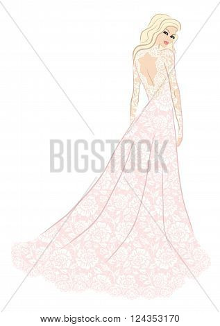 Fashion illustration of bride in lace dress
