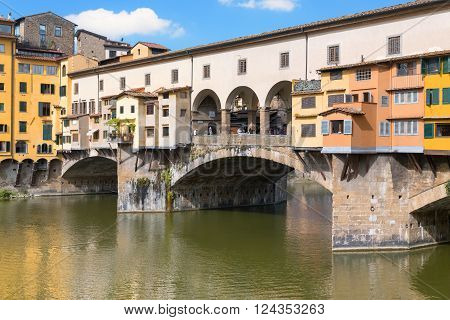 Italy. Florence. The famous old bridge Ponte Vecchio over the River Arno