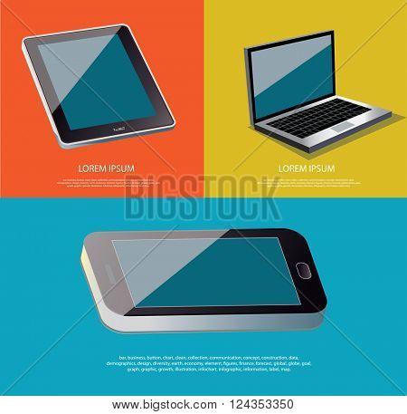 Set of devices laptop, digital tablet and smartphone.  Vector illustration.