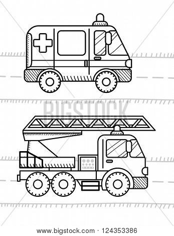 Cars and vehicles coloring book for your kids. Ambulance, firetruck