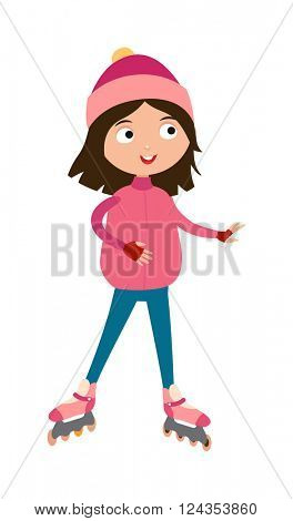 Cute young girl in roller pink skates, hats and gloves happy active leisure skater vector.