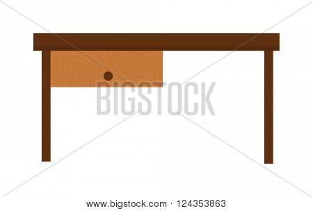 Wooden old brown table and wood desk surface retro flat vector isolated.