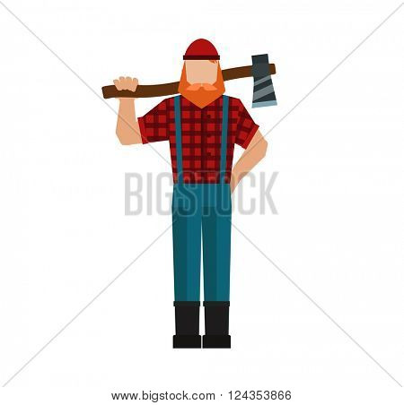 Lumberjack, woodman, woodcutter an ax carpenter joiner, woodworker forest strong flat character vector.