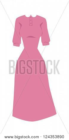 Bright pink hanger dress beauty and fashion women glamour series flat vector illustration.