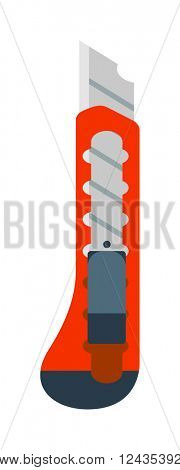 Paper stationery knife opener thin blades cut paper and plastic office tool flat vector.