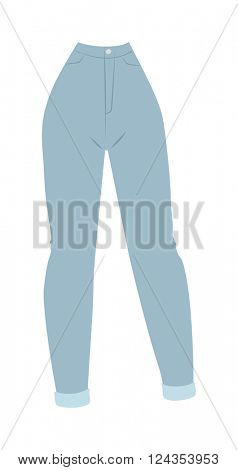 Blue denim women's jeans glamour clothing style casual fabric flat pants vector illustration.