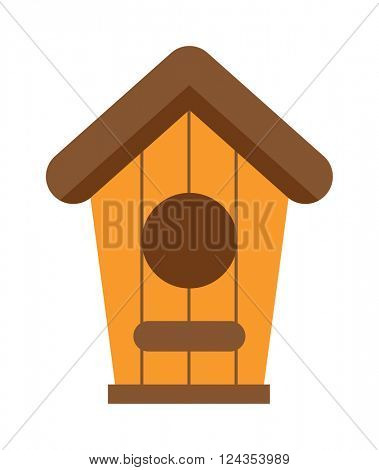 Handcrafted wooden hut with roof for birds, safe from cold and wind protection nesting box flat vector.